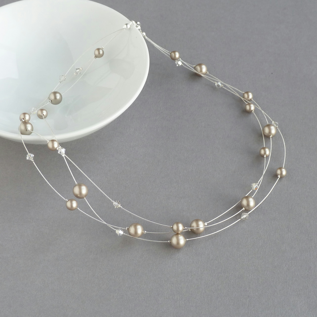 Taupe Floating Pearl Necklace - Champagne Bridesmaid Jewellery - Coffee Wedding