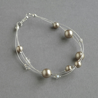 Taupe Floating Pearl Bracelet - Champagne Bridesmaid Jewellery - Coffee Wedding