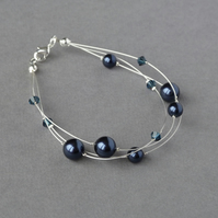 Navy Floating Pearl Bracelet - Dark Blue Bridesmaid Jewellery - Three Strand