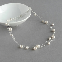 Ivory Floating Pearl Necklace - Bridal Jewellery - Crystal Three Strand Necklace