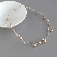 Rose Gold Floating Pearl Necklace - Bridesmaid Jewellery - Beige Wedding