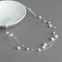 Mint Green Multi-strand Necklace - Aqua Bridesmaids Jewellery - Jade Women Gifts