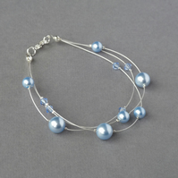 Pale Blue Floating Pearl Bracelet - Light Blue Bridesmaid Jewellery - Wedding