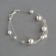 Ivory Floating Pearl Bracelet - White Multi-strand Bracelet - Bridal Jewellery