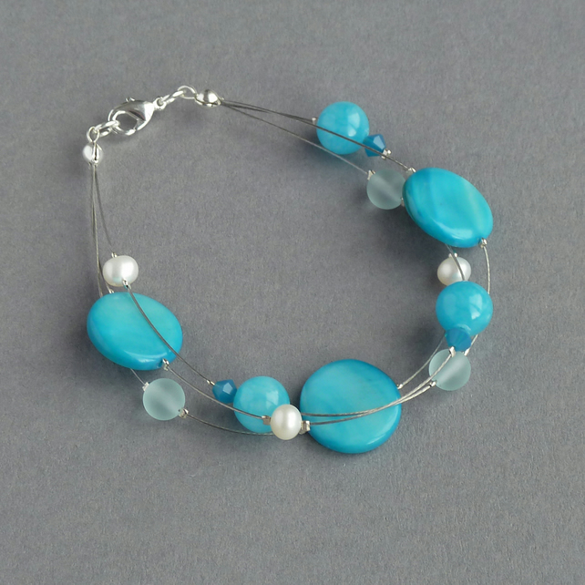 Sea Blue Floating Pearl Bracelet - Turquoise Bridesmaids Gifts - Blue Jewellery
