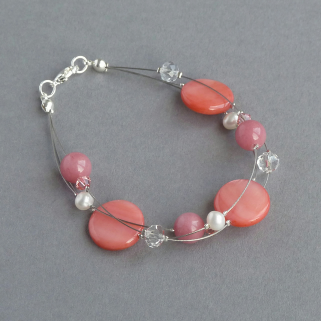Coral Pink Floating Pearl Bracelet - Salmon Wedding Jewellery - Gifts