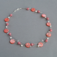 Coral Pink Floating Pearl Necklace - Salmon Jewellery - Bridesmaid Gifts