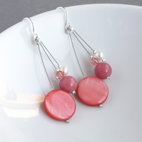 Coral Pink Drop Earrings - Salmon Three Strand Jewellery - Bridesmaid Gifts