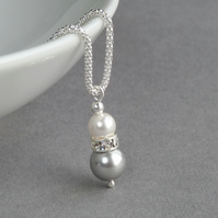 Silver Grey Pearl Necklace - Crystal Bridesmaid Jewellery - Wedding Accessories