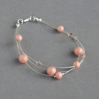 Coral Pink Floating Pearl Bracelet - Peach Wedding Jewellery - Bridesmaid Gifts