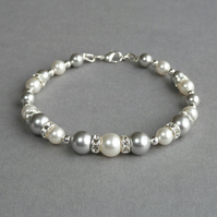 Silver Grey Bracelet - Pearl and Crystal Bridesmaids Jewellery - Wedding