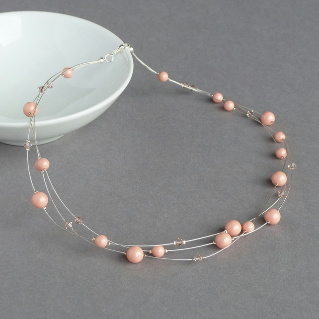 Coral Pink Floating Pearl Necklace - Peach Wedding Jewellery - Bridesmaid Gifts