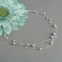 Silver Grey Floating Pearl Necklace - Light Grey Bridesmaid Jewellery - Wedding