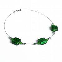 Green Fused Glass Necklace - Emerald Beaded Necklace - Glass Jewellery