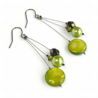 Lime Green Earrings - Spring Green Drop Earrings - Olive Bridesmaids Jewellery