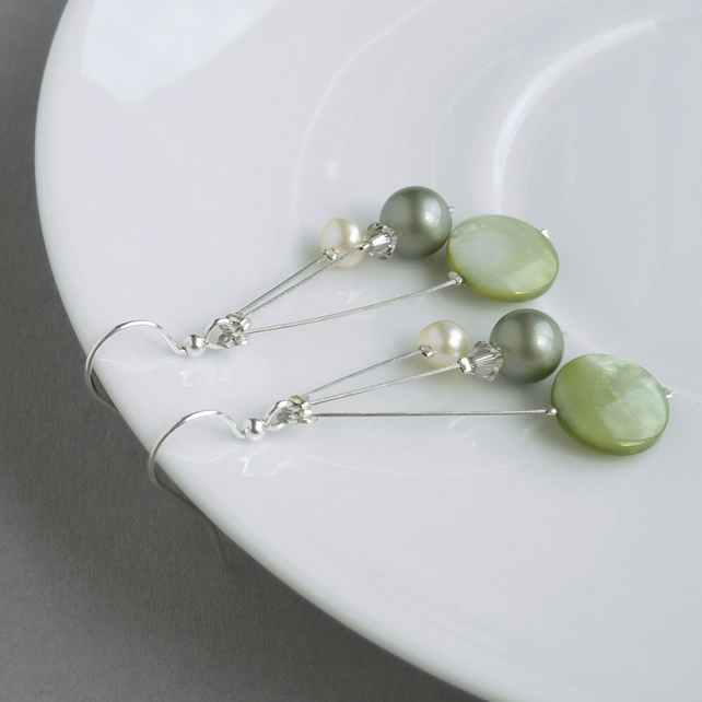 Sage Green Pearl Drop Earrings - Celadon Bridesmaids Jewellery - Apple Green