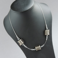 Grey Fused Glass Necklace - Lampwork Glass Bead Necklace - Choker Necklet