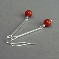 Coral Red Earrings - Scarlet Pearl Drop Earrings - Silver Bridesmaids Jewellery