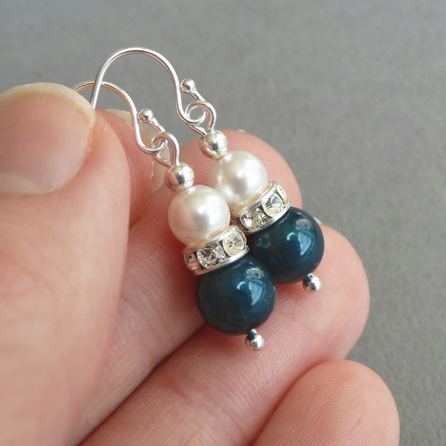 Teal Pearl and Crystal Earrings - Petrol Blue Drop Earrings - Aquamarine Wedding