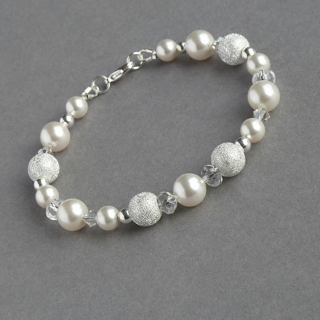 Sparkly Stardust Bracelet - White Pearl and Crystal Bridal Jewellery - Wedding
