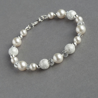 Ivory Stardust Bracelet - White Pearl and Crystal Bridal Jewellery - Wedding