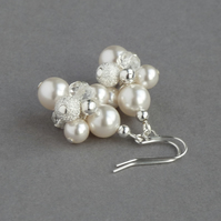 Ivory stardust Earrings - White Pearl Cluster Drop Earrings - Bridal Jewellery