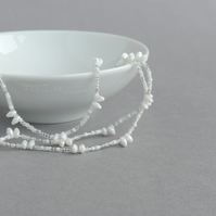 Long Frosted White Necklace - Pearl White Clasp Free Necklace - Spiky Jewellery