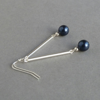 Long Navy Pearl Drop Earrings - Sterling Silver Bar & Dark Blue Dangly Earrings