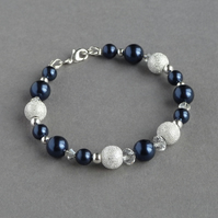 Navy stardust Bracelet - Midnight Blue Pearl Bridesmaid Jewellery - Navy Wedding