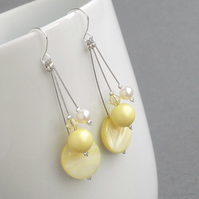 Pale Yellow Drop Earrings - Lemon Pearl Bridesmaid Jewellery - Pastel Wedding