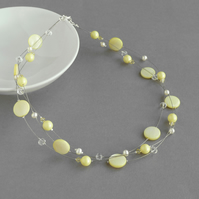 Pale Yellow Floating Pearl Necklace - Lemon Bridesmaid Gifts - Pastel Wedding