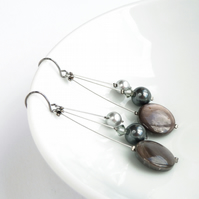 Dark Grey Drop Earrings - Charcoal Dangly Earrings - Pearl Wedding Jewellery