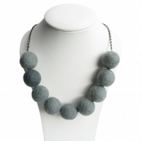 Soft Grey Felted Necklace - Chunky Bead, Silver Grey, Fairtrade Felt Necklace