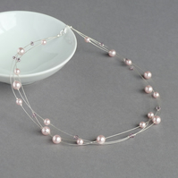 Blush Pink Floating Pearl Necklace - Pale Pink Bridesmaids Jewellery - Gifts