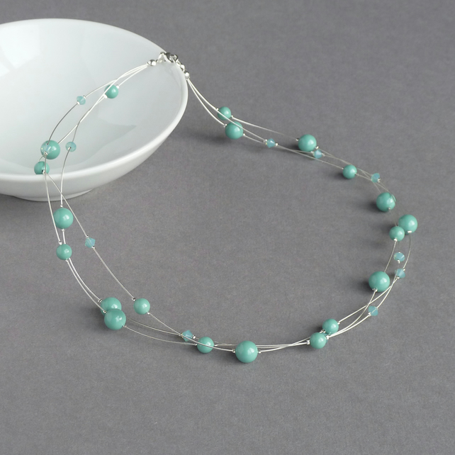 Aqua Floating Pearl Necklace - Turquoise Multi-strand Bridesmaid Jewellery