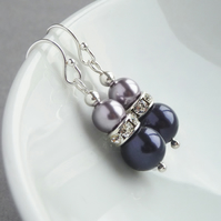 Dark Purple Earrings - Amethyst and Lilac Pearl & Crystal Bridesmaids Jewellery