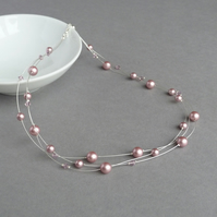 Dusky Pink Floating Pearl Necklace - Powder Rose Bridesmaid Jewellery - Gifts