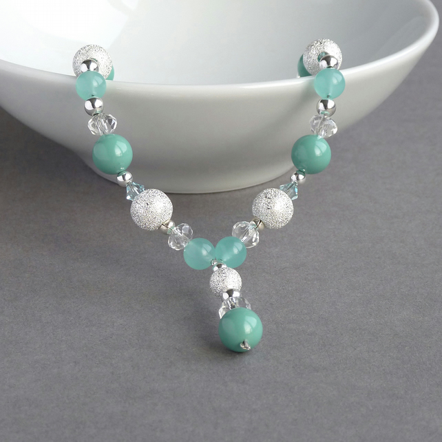 Aqua Stardust Y Necklace - Turquoise Pearl and Crystal Bridesmaids Jewellery