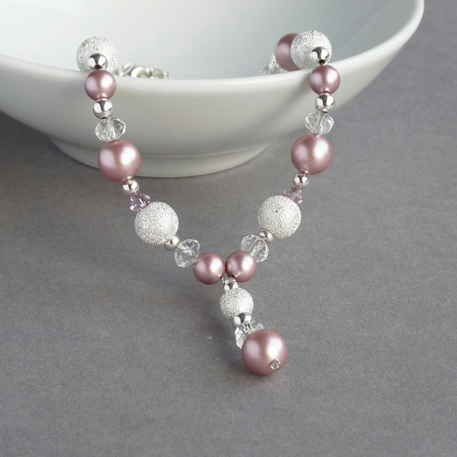 Dusky Pink Stardust Y Necklace - Powder Rose Pearl Bridesmaid Jewellery