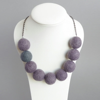 Amethyst and Grey Felt Necklace - Purple Fairtrade Felted Jewellery