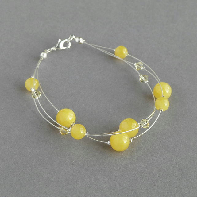 Yellow Multi-strand bracelet - Mustard Wedding Jewellery - Lemon Bridesmaids