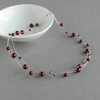 Burgundy Floating Pearl Necklace - Claret Red Bridesmaids - Wedding Jewellery
