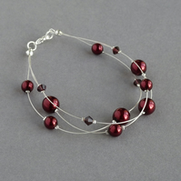 Burgundy Floating Pearl Bracelet - Dark Red Bridesmaid Gifts - Wedding Jewellery