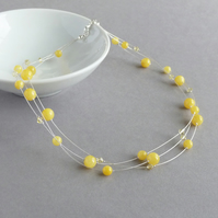 Yellow Multi-strand Necklace - Mustard Bridesmaid Jewellery - Lemon Wedding
