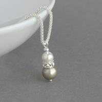 Champagne Pearl Drop Necklace - Beige Bridesmaid Gifts - Wedding Jewellery