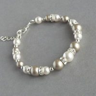 Champagne and White Pearl Bracelet - Taupe Bridesmaid Gifts - Wedding Jewellery