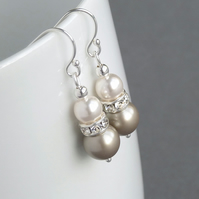 Champagne Pearl and Crystal Drop Earrings - Bridesmaid Gifts - Wedding Jewellery
