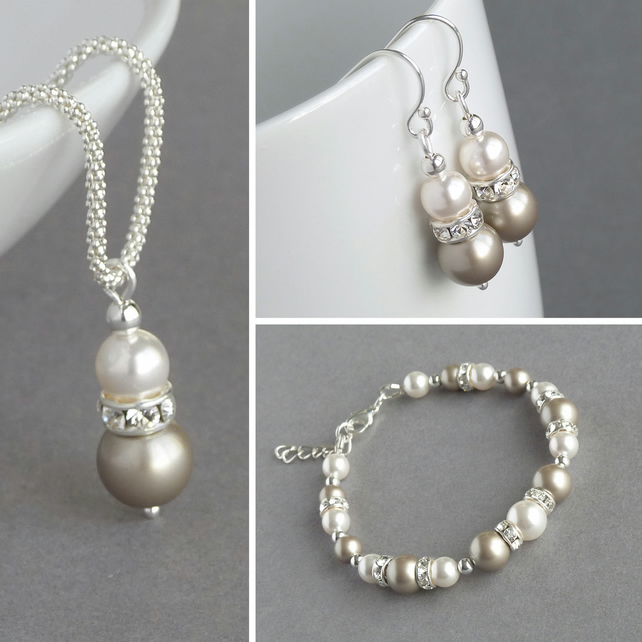 Champagne Pearl Jewellery Set Beige Wedding Necklace Bracelet And Earrings