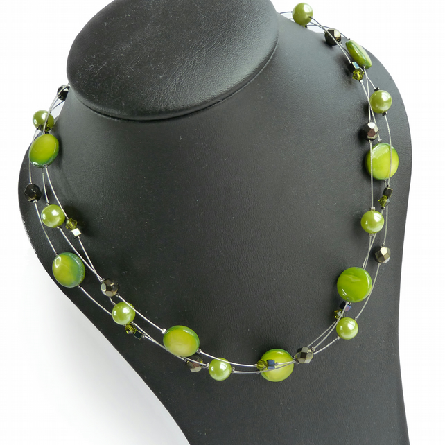 Lime Green Necklace - Olive Floating Pearl Necklace - Pistachio Bridesmaids