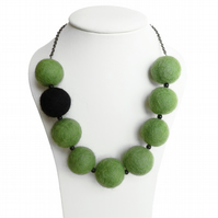 Lime Green Necklace - Olive Green, Chunky Bead, Fairtrade Felt Necklace